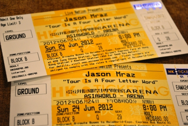 Jason Mraz Hong Kong Tickets