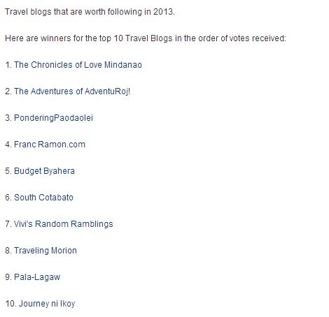 Source: http://www.filipinobloggersworldwide.com/2012/12/top-10-travel-blog-of-2012.html