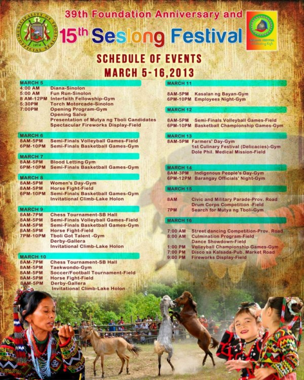 Seslong Festival Schedule of Activities