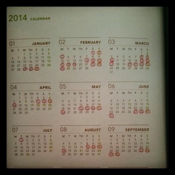 2014 Travel Calendar