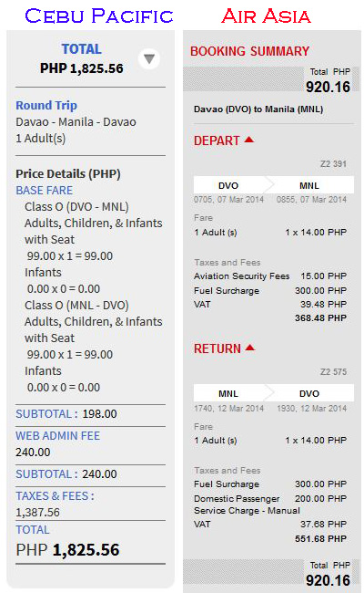Air Asia vs Cebu Pacific Promo Fare